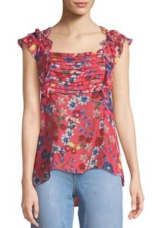 Parker Catalina Floral-Print Ruffle Top
