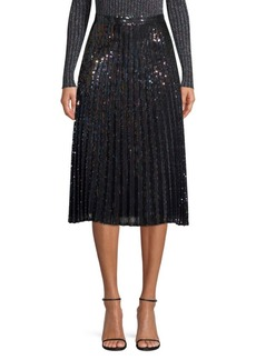 Parker Citrine Iridescent Sequin Pleated Skirt