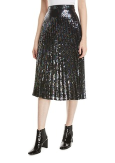 Parker Citrine Sequined High-Waist Midi Skirt