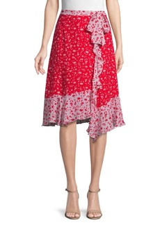 Parker Collins Floral Ruffle Asymmetric Skirt