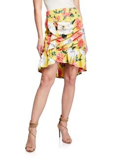 Parker Coraline Draped Ruffle Floral-Print Skirt