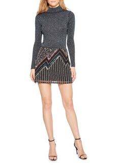 Parker Corsica Beaded Metallic Mini Skirt