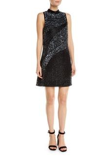 Parker Courtney Metallic Mesh Mini Dress