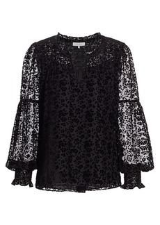 Parker Craig Sheer Velvet Burnout Puff-Sleeve Floral Blouse