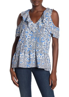 Parker Dedra Cold Shoulder Floral Peplum Hem Top