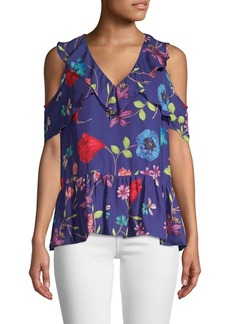 Parker Dedra Floral Cold-Shoulder Blouse