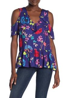 Parker Dedra Silk Blend Cold Shoulder Floral Peplum Hem Top