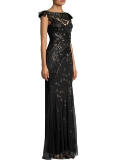 Parker Dollie Sequined Overlay Gown