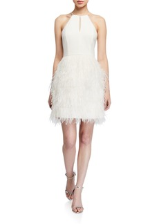 Parker Donna Feather Skirt Mini Halter Dress w/ Crystal Trim