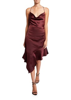 Parker Edyth Cowl-Neck Asymmetric Satin Midi Dress