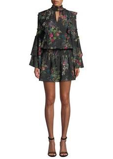 Parker Elliana Printed High-Neck Ruffle Short Dress