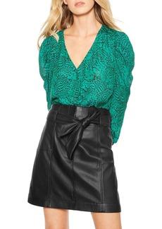 Parker Emmet Belted Leather Skirt