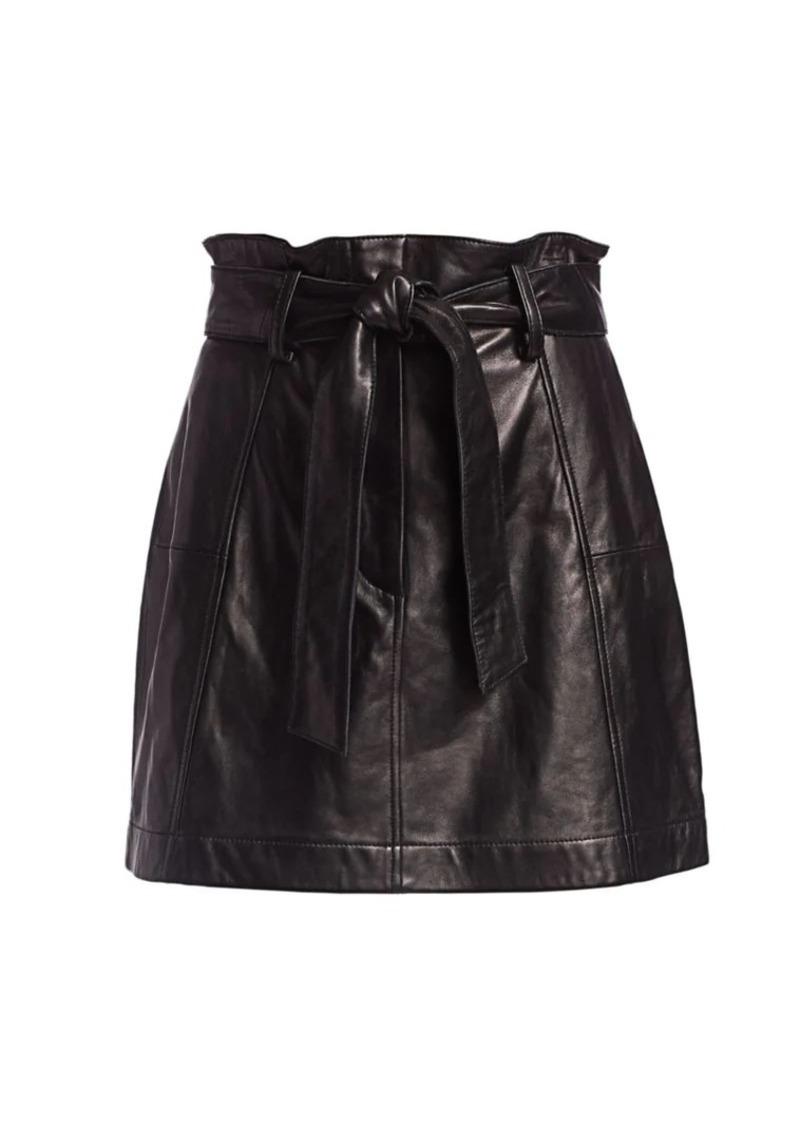 Parker Emmett Leather Paperbag Mini Skirt