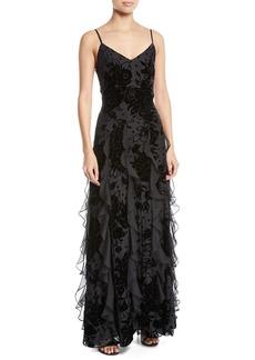 Parker Equinox Velvet Flower Cascade Gown Dress