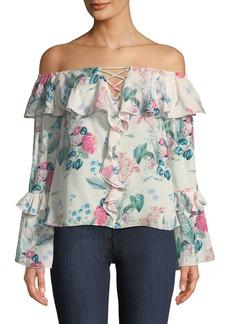 Parker Erin Off-the-Shoulder Floral-Print Silk Blouse