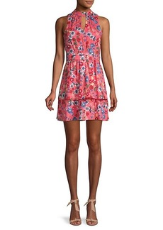 Parker Floral Keyhole Mini Flare Dress