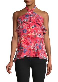 Parker Floral-Print Ruffled Silk-Blend Top
