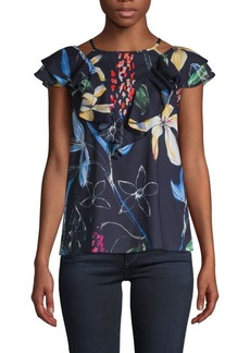 Parker Floral-Print Ruffled Top