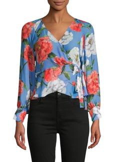 Parker Floral-Print Silk-Blend Wrap Blouse