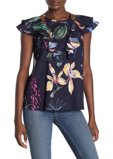 Parker Floral Print Slit Shoulder Top