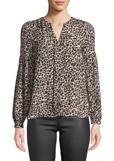 Parker Gathered-Sleeve Leopard Print Blouse