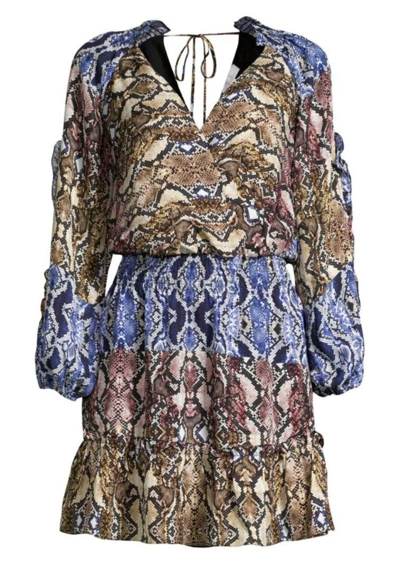 Parker Gladis Colorblock Snake Print Blouson Dress