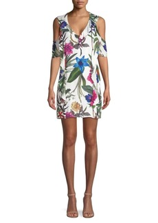 Parker Glory Cold-Shoulder Floral Mini Dress