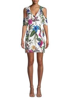 Parker Glory Cold-Shoulder Floral Mini Dress