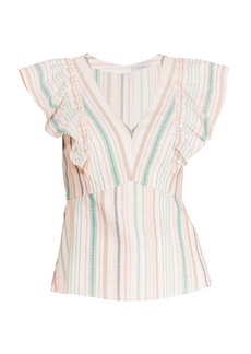 Parker Halsey Striped Ruffle Top