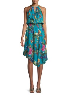 Parker Harley Asymmetric Floral Silk Dress