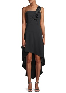 Parker Heather Crepe Cocktail Dress w/ Beaded Strap