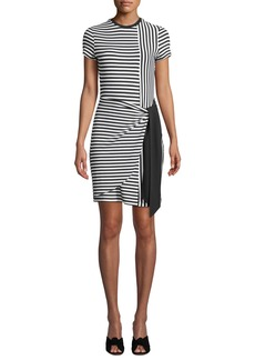 Parker Hermosa Crewneck Short-Sleeve Striped Combo Dress