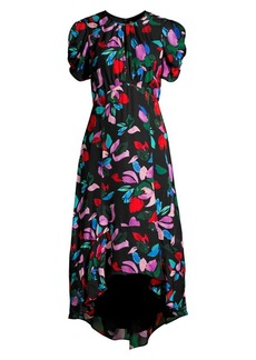 Parker Hezzy Floral Puff-Sleeve Flare Dress