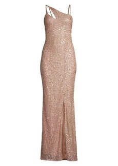 Parker Imani Sequin Glitter Front Slit Column Gown
