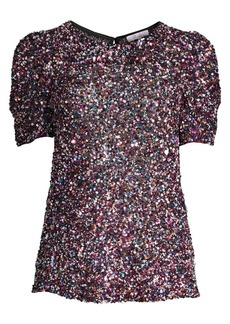 Parker Isaac Sequined Puff-Sleeve Top