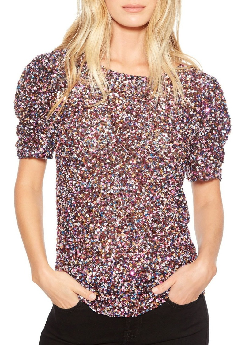 Parker Isaac Sequined Short-Sleeve Top