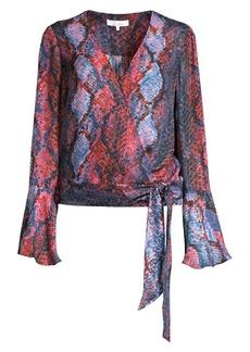 Parker Isabella Snake-Print Silk-Blend Wrap Blouse