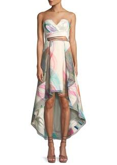 Parker Jada Printed Strapless Bustier High-Low Dress