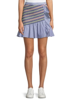 Parker Jordon Flounce Shirting Mini Skirt