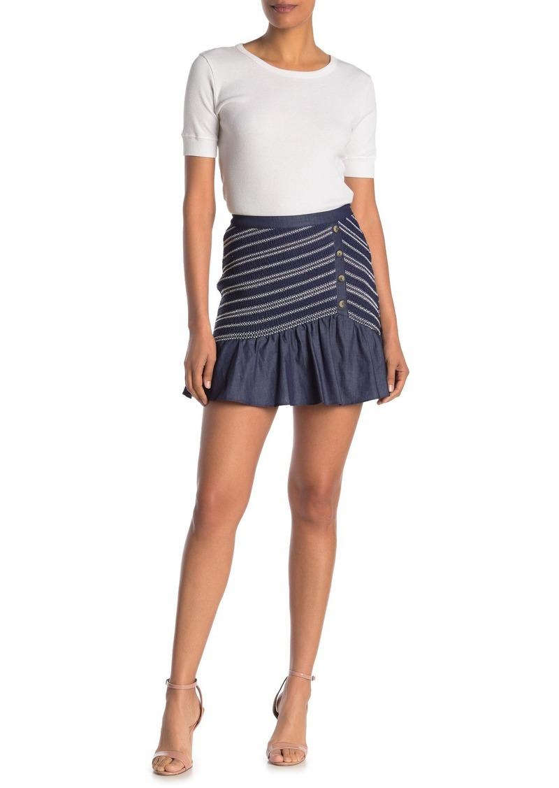 Parker Jordon Smocked Button Mini Skirt