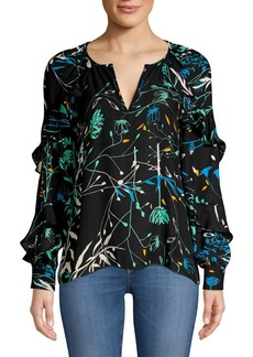 Parker Julian Tiered Ruffled Floral Silk-Blend Blouse