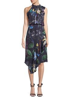 Parker Julieta Sleeveless High-Neck Asymmetric Dress