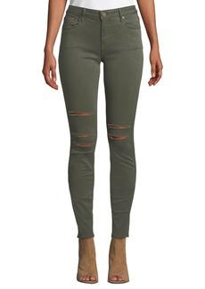 Parker Kam Mid-Rise Slashed Skinny Jeans
