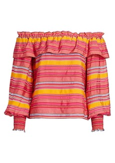 Parker Karen Off-The-Shoulder Ruffle Striped Top