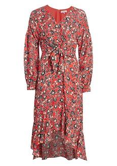 Parker Kinsale Tie-Front Silk Georgette Midi Dress