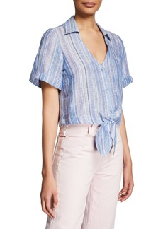 Parker Kit Striped Tie-Front Linen Blouse