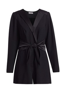 Parker Lee Tuxedo-Style Long-Sleeve Romper