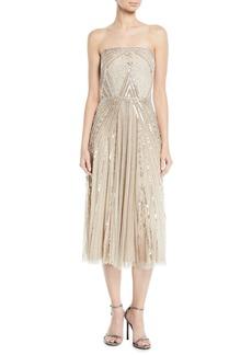 Parker Lola Strapless Midi Dress w/ Beading