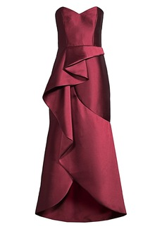 Parker Lulu Cascading Ruffle Strapless Satin Gown