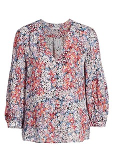 Parker Marie Floral Puff-Sleeve Silk Blouse